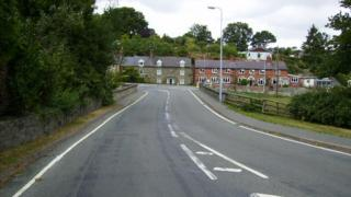 The A489 road in Churchstoke, Powys