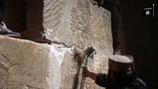 Still from IS video, showing destruction at the ancient site of Nimrud