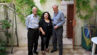 Radha and her husband with Colin Thubron