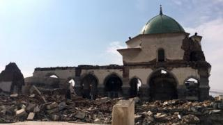 Remains of the destroyed Great Mosque of al-Nuri in Mosul