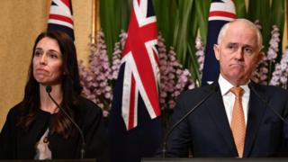 Jacinda Ardern and Malcolm Turnbull at their first joint press conference in September 2017