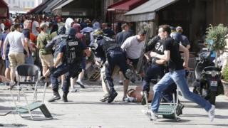Scene of police clashing with fans in Marseille
