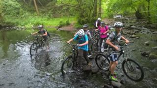 Cycling skills course at Talybont, Powys