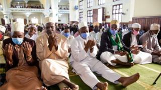 Worshippers in the Gaddafi mosque in Tanzania's capital Dodoma