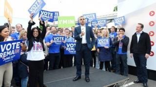 Sadiq Khan and David Cameron on EU referendum campaign trail