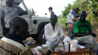 Carrying out blood tests to look for sleeping sickness