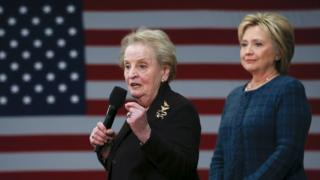 Madeleine Albright and Hillary Clinton at a rally in New Hampshire