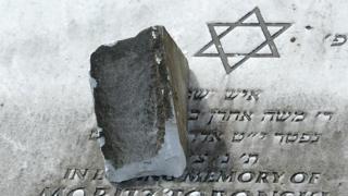 A damaged gravestone in Rainsough Jewish Cemetery in Prestwich
