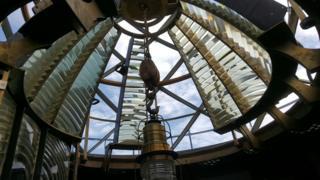 Restoration works at Graves lighthouse in Boston, Massachusetts