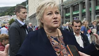 Norway's Prime Minister and leader of the Conservative Party, Erna Solberg, at an election campaign event in Bergen, Norway, 8 September 2017