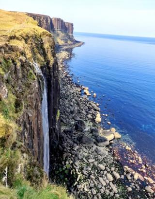 Land meets the sea waterfall