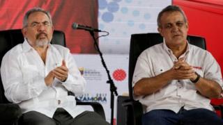 Venezuela's Oil Minister Nelson Martinez (L) and Eulogio del Pino, president of Venezuelan state oil company PDVSA, attend the swear in ceremony of the new board of directors of Venezuelan state oil company PDVSA in Caracas, Venezuela January 31, 2017.