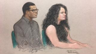 Court sketch of Darren Pencille (L) and Chelsea Mitchell in the dock at the Old Bailey