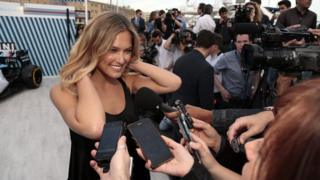 Model Bar Refaeli is interviewed after being announced as the global Martini race ambassador