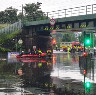Scottish Fire and Rescue Service rescuing members of Stirling Rugby Club