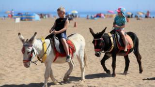 Children enjoyed donkey rides on Skegness beach