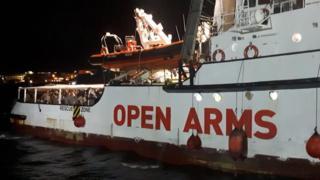 El Open Arms, a su llegada a Lampedusa.