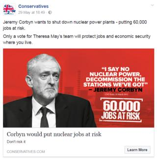 An example of a Conservative attack advert seen by a voter in Derby North, home to a significant nuclear industry