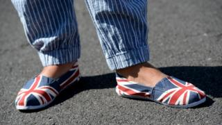 Person in Union Jack shoes