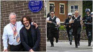 Philip Welch and Edgar Wright at Blue Plaque and a scene from Hot Fuzz