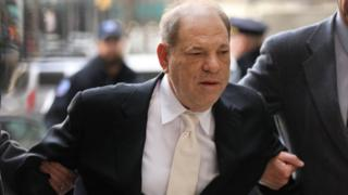 Harvey Weinstein arrives at a Manhattan court house for the second day of his trial on January 23, 2020