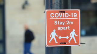 "A ""stay 2m apart"" sign in Manchester"