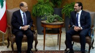 Michel Aoun ve Saad Hariri
