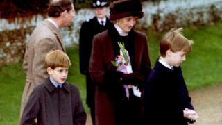 Princess Diana with Princes Harry and William