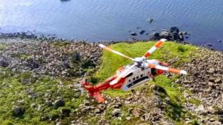 Coastguard rescuing two climbers who fell at Fair Head on 3 June 2018