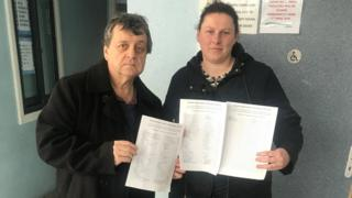 Councillor Kevin Etheridge and resident Janet Lane with a petition to save Blackwood bus station toilets