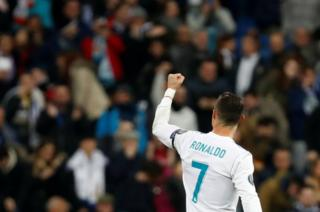 Real Madrid's Cristiano Ronaldo celebrates scoring against Borussia Dortmund in the Champions League