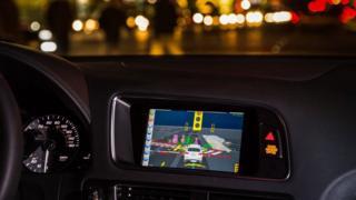 in-car computer at night