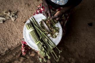A Displaced person prepares Misili, a local vegetable, inside an abandoned warehouse, which is used by Internally Displaced Persons as a shelter