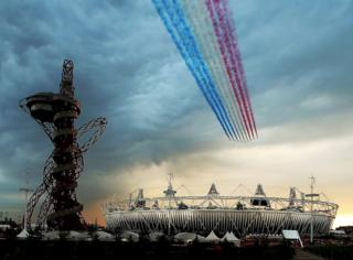 The Red Arrows fly over Olympic Stadium