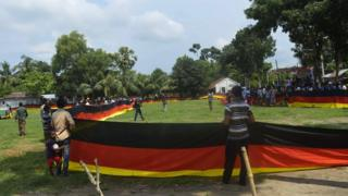 Farmer Amjad Hossain's giant German flag is unveiled in Magur, Bangladesh, 5 June 2018