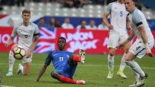 Dembele akifiungia France bao la ushindi dhidi ya Uingereza