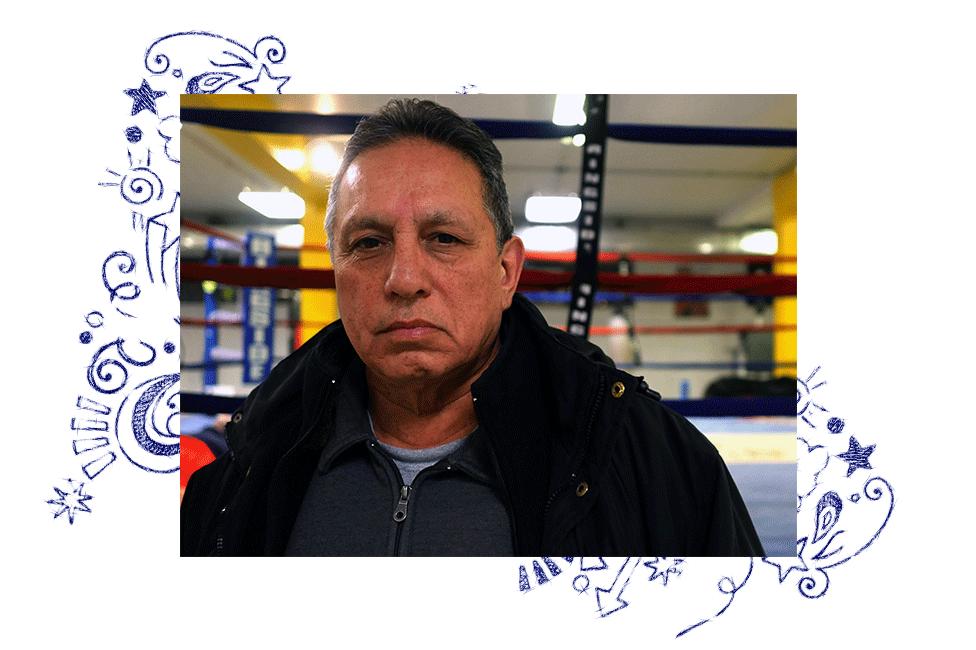 Raúl en la academia de boxeo
