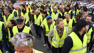 protesters near Chambery in eastern Franec