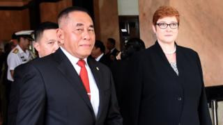 Indonesia's Defence Minister Ryamizard Ryacudu and Australian counterpart Marise Payne meet last year