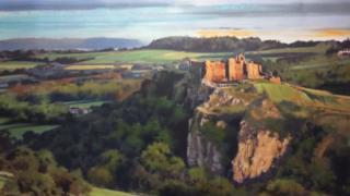 Painting of Carreg Cennen castle