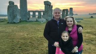Richard Kingston with wife Mariya and daughter Anna Marie seen at Stonehenge