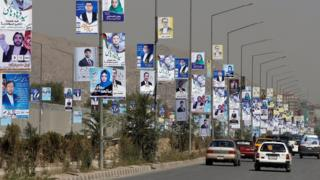 Election posters on a main road in Kabul