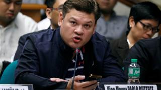 Paolo Duterte, Davao's Vice Mayor and son of President Rodrigo Duterte, testifies at a Senate hearing on drug smuggling in Pasay, Metro Manila, Philippines, 7 September 2017