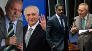 O ex-presidente Lula; o presidente Michel Temer; e os senadores Aécio Neves e Renan Calheiros