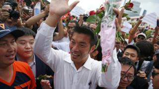 Scores of supporters greeted Thanathorn Juangroongruangkit in Bangkok