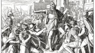Maccabees rising up against the Greeks