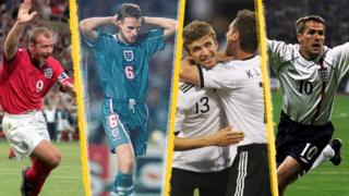 England will meet Germany at Euro 2020 - the fourth time they have met at a major tournament since England beat West Germany at the 1966 World Cup