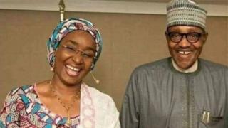 President Muhammadu Buhari and Sadiya Umar Farouq, di minister for Nigeria new ministry of humanitarian affairs, disaster management and social development