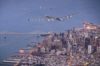 Solar powered plane Solar Impulse 2 flies over the Golden Gate bridge in San Francisco