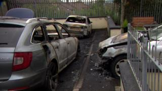 Cars were set on fire in the Barrs Lane area of the city